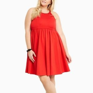 Torrid Ponte High Neck Skater Dress in red
